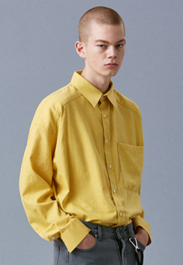 Voiebit브아빗 V441 BASIC INCISION SHIRTS  YELLOW