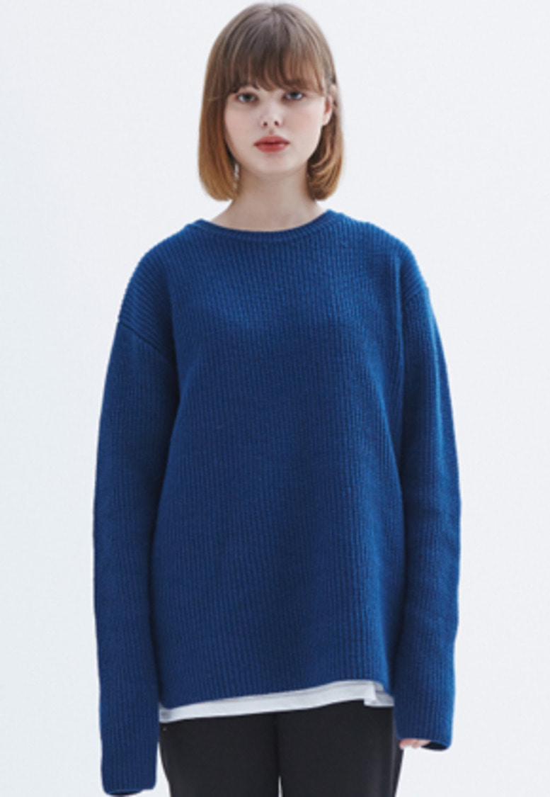 MMGL미니멀가먼츠랩 Ribbed sweater (Blue)