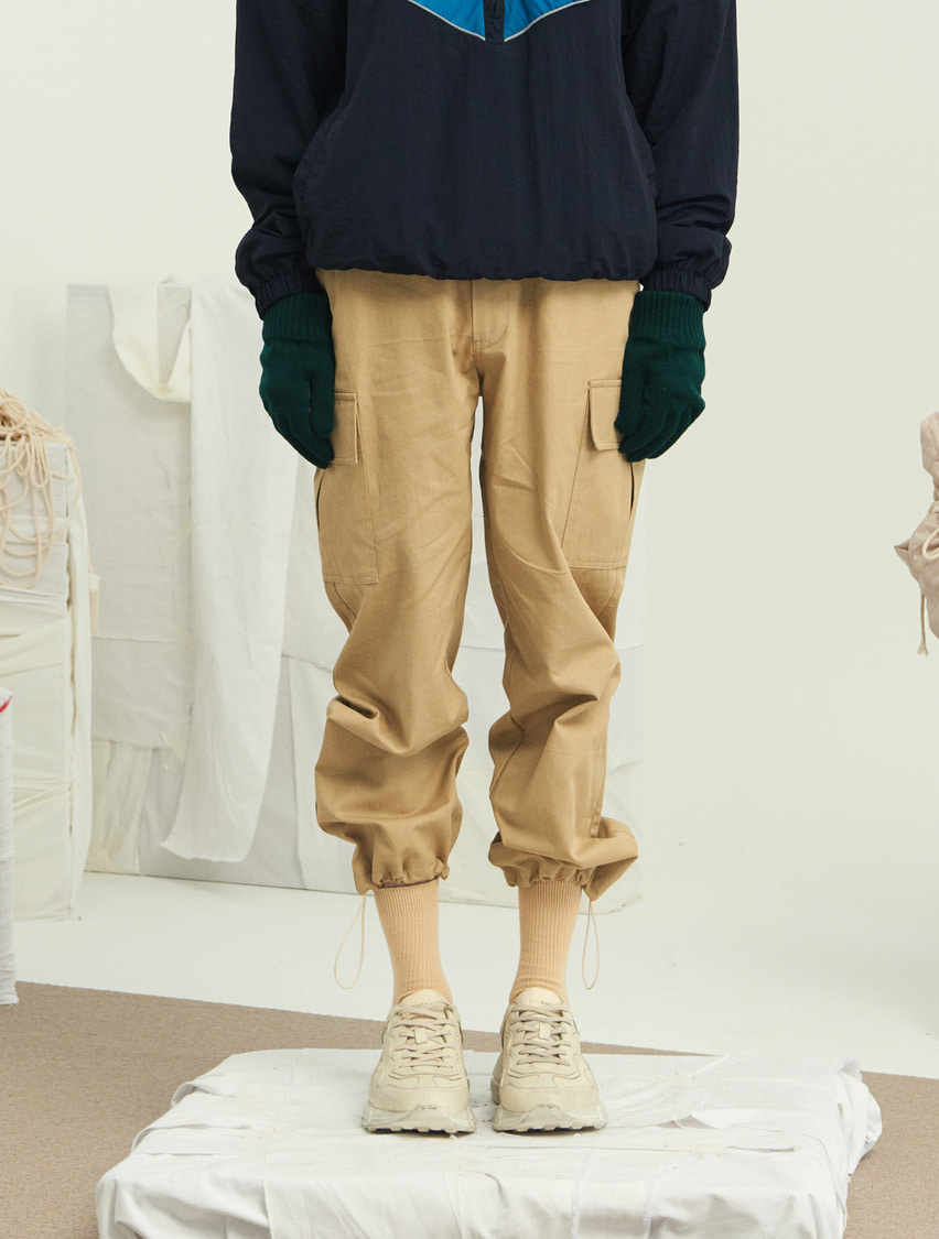 13Month써틴먼스 STRING WIDE CARGO PANTS (BEIGE)