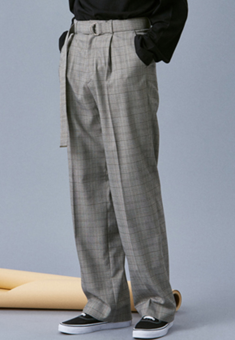 Voiebit브아빗 V251 CHECK BELT WIDE SLACKS  CHECK