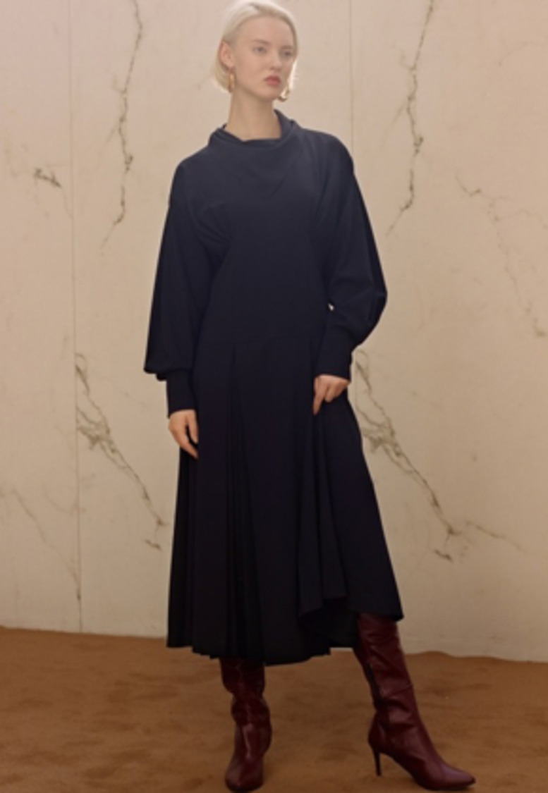 Anderssonbell앤더슨벨 CELINA SCARF PLEATS DRESS atb218w(Navy)
