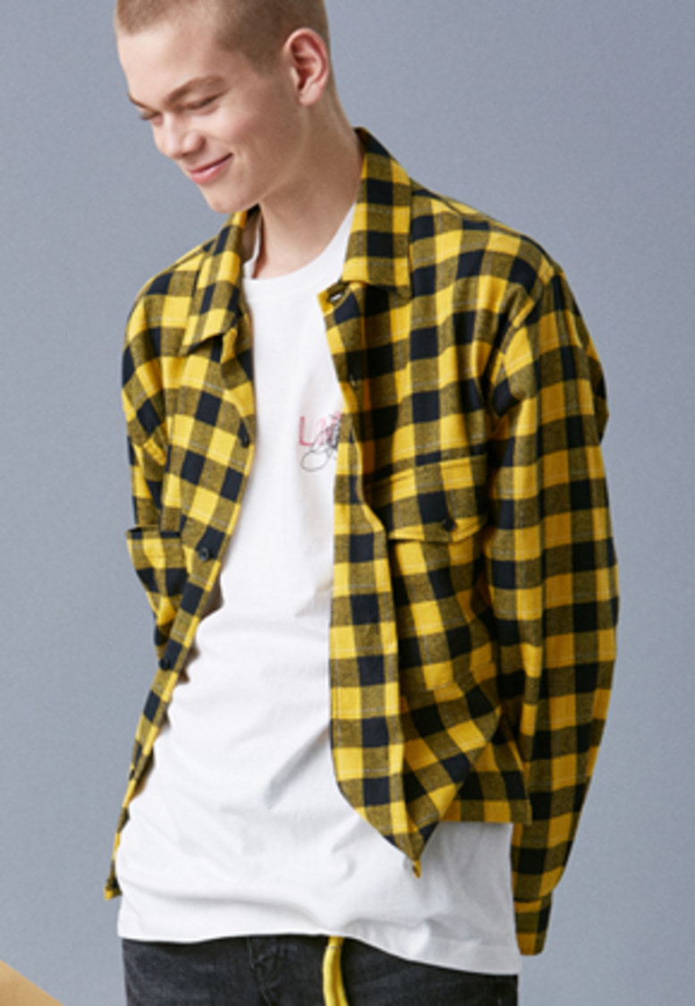 Voiebit브아빗 V442 CROP CHECK SHIRTS  YELLOW