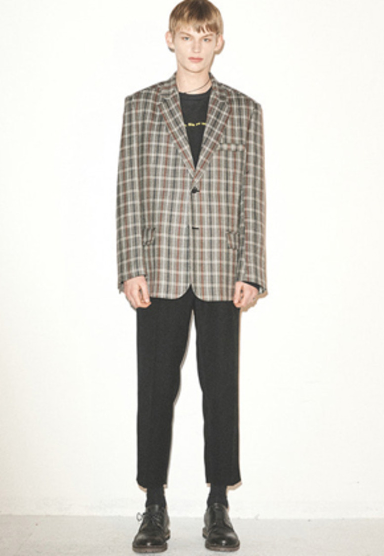 Haleine알렌느 GREYBROWN check oversized blazer