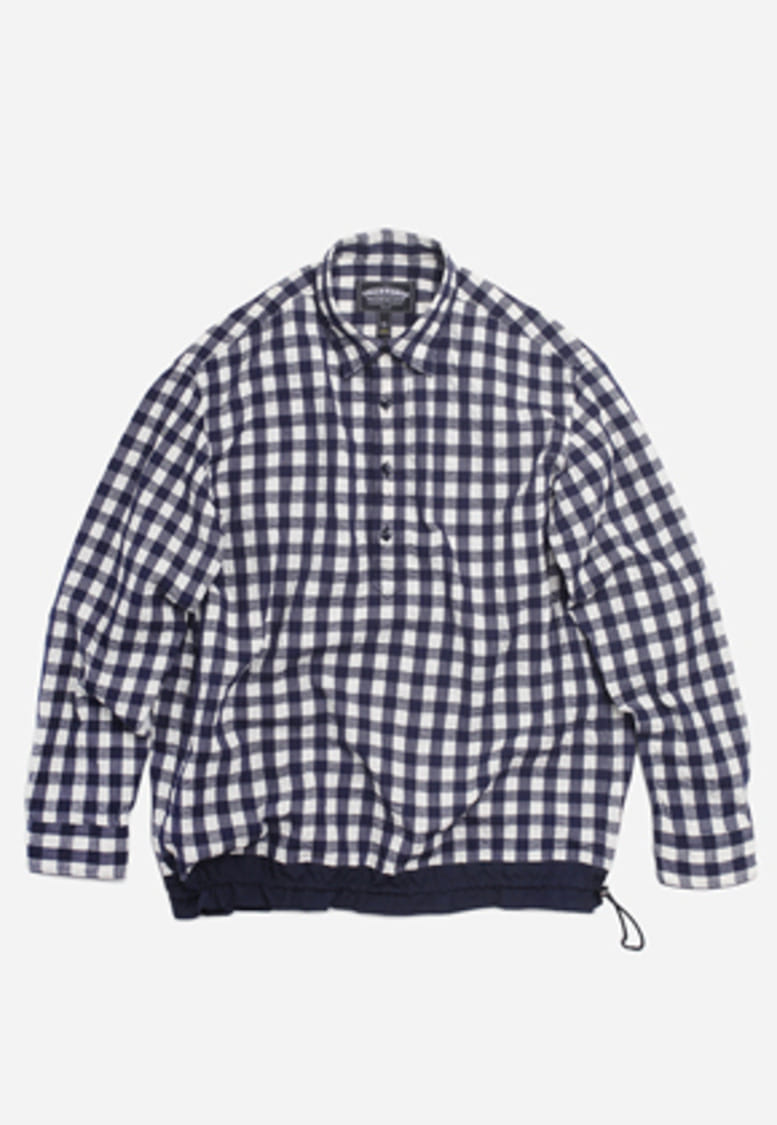 FRIZMWORKS프리즘웍스 Fasten check pullover shirt _ navy