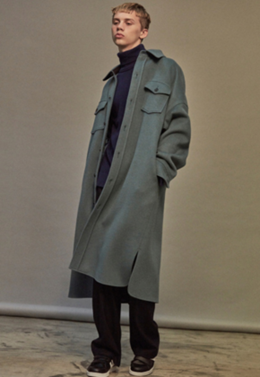 NOHANT노앙 OVERSIZED WOOL SHIRT-COAT SKY BLUE