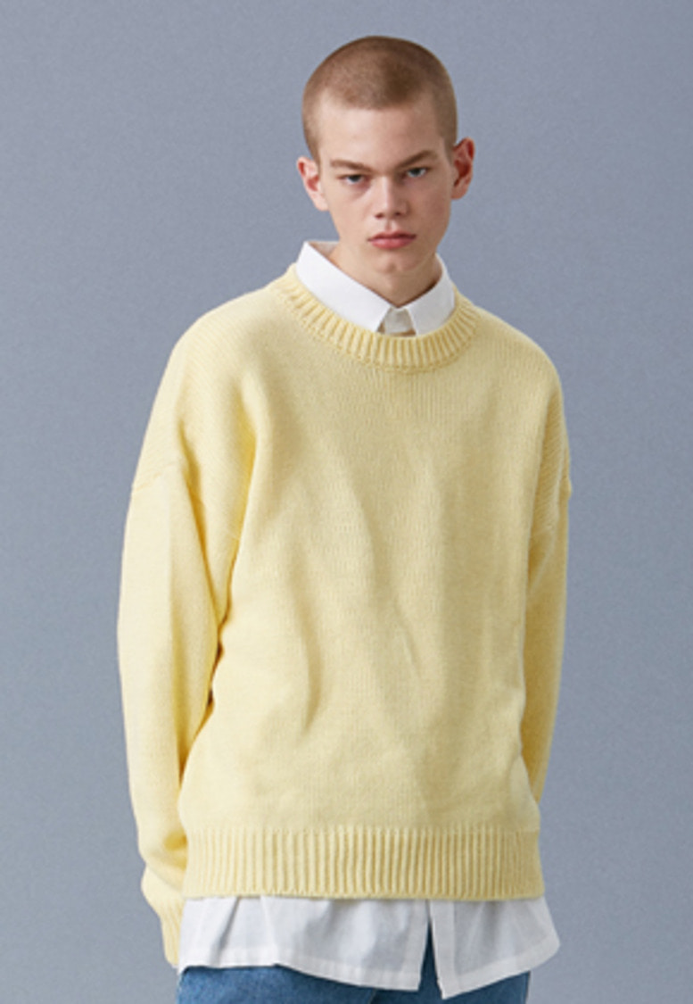 Voiebit브아빗 V541 NANTES BASIC ROUND KNIT LIGHT YELLOW