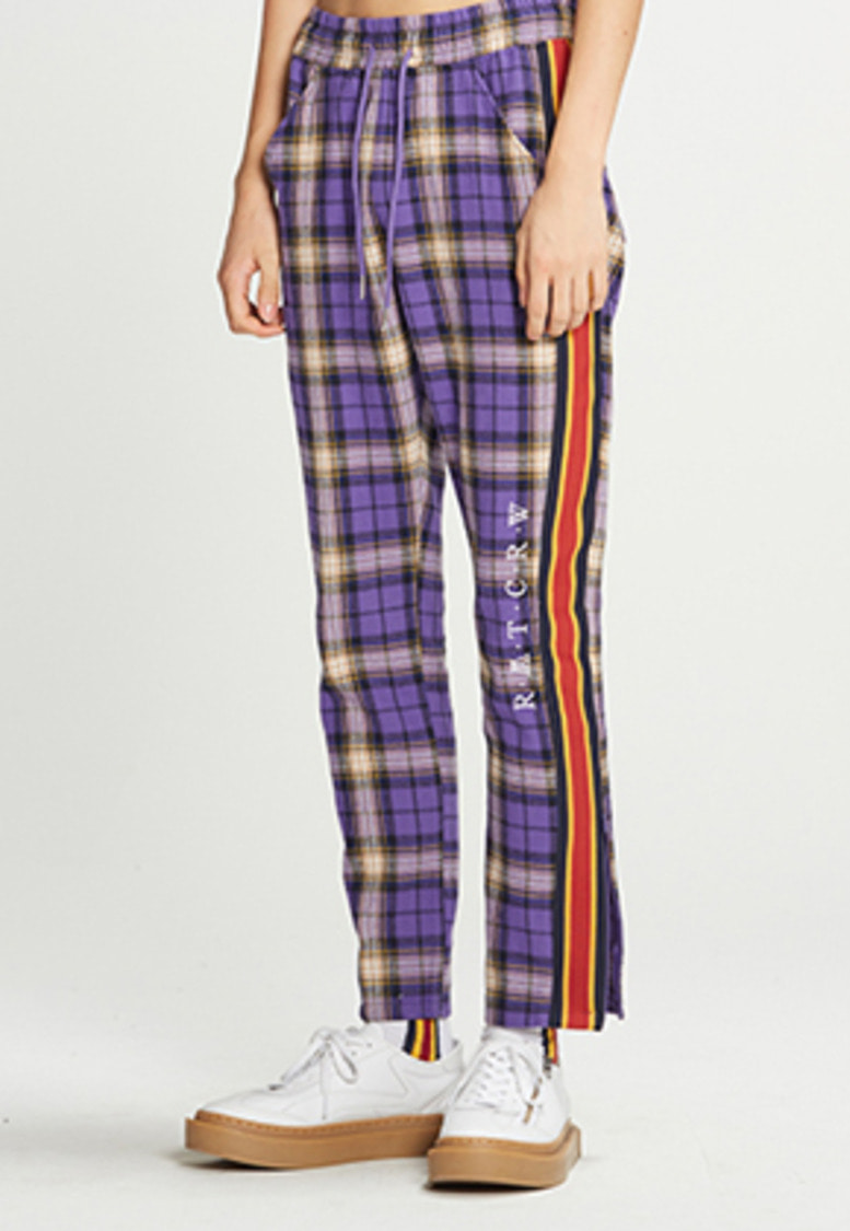 Romantic Crown로맨틱크라운 RMTCRW Check Pants_Purple