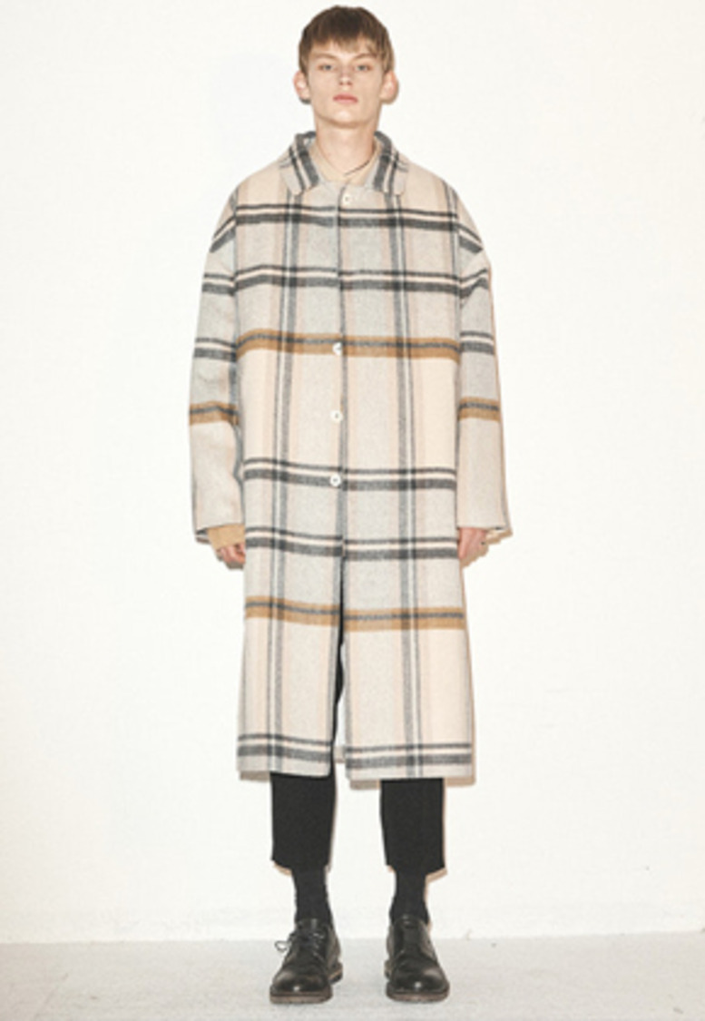 Haleine알렌느 BEIGE check wool dropshoulder mac coat