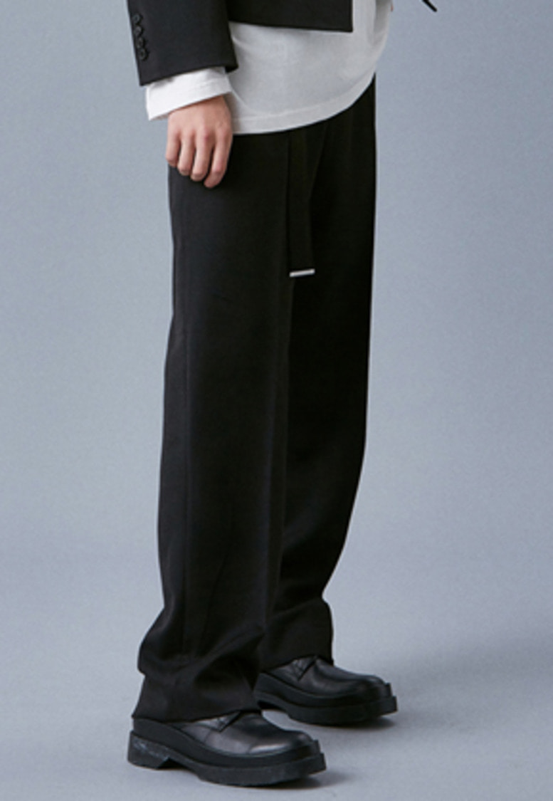 Voiebit브아빗 V250 STITCHES BELT WIDE SLACKS  BLACK