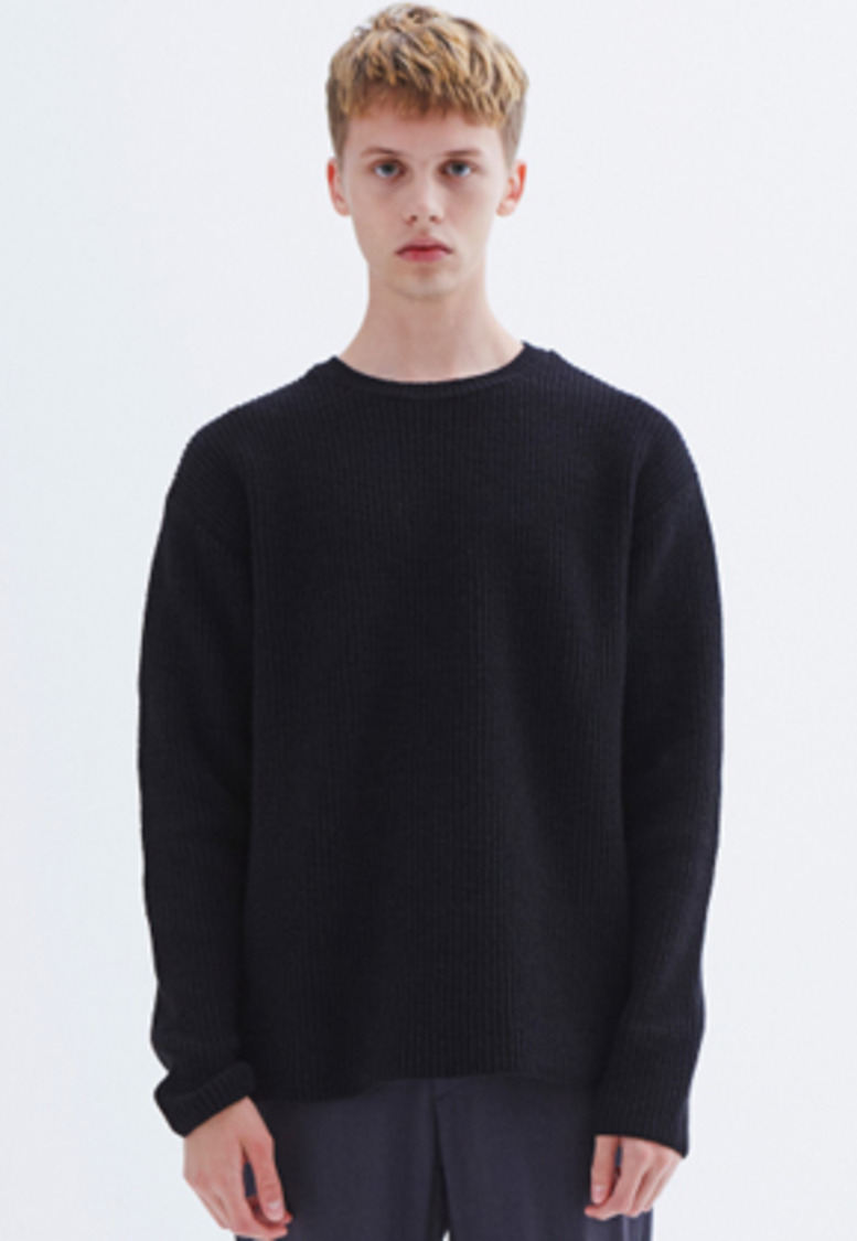 MMGL미니멀가먼츠랩 Ribbed sweater (Black)