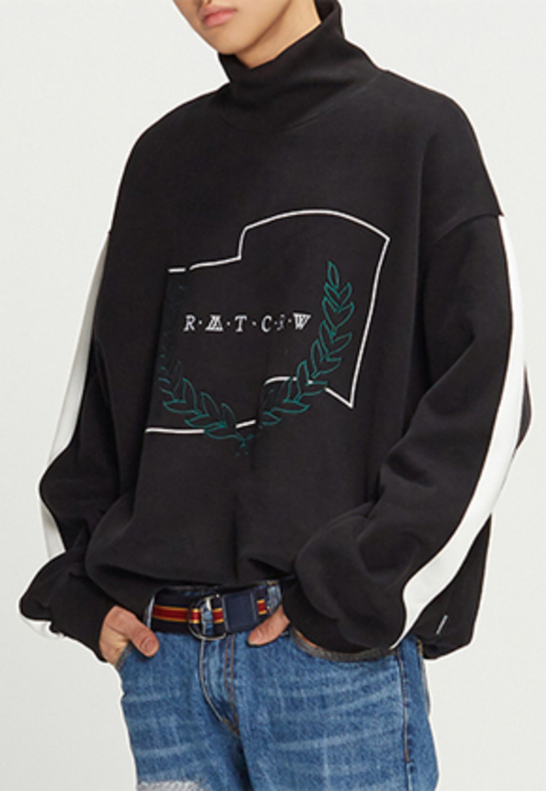 Romantic Crown로맨틱크라운 Half Zip Up Turtleneck_Black