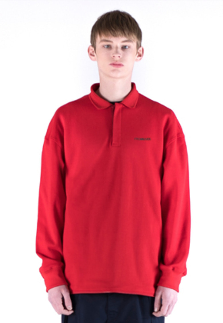 FROMMARK프롬마크 OVERSIZED ZIP DETAIL POLO SHIRT RED