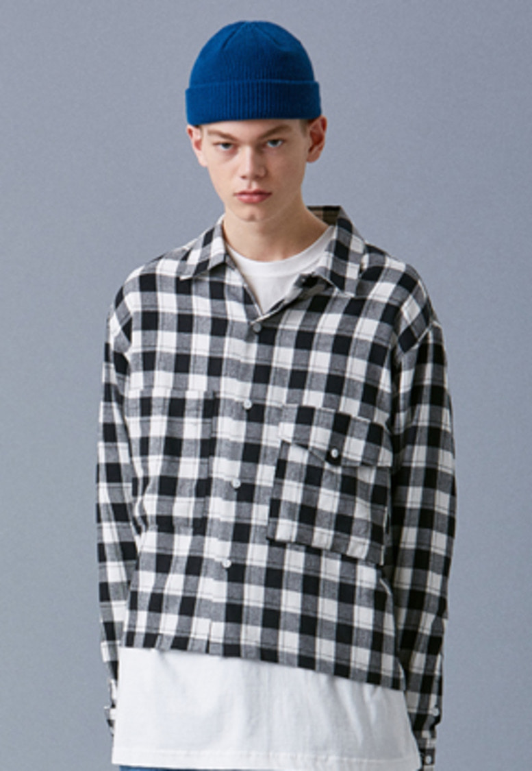 Voiebit브아빗 V442 CROP CHECK SHIRTS  BLACK