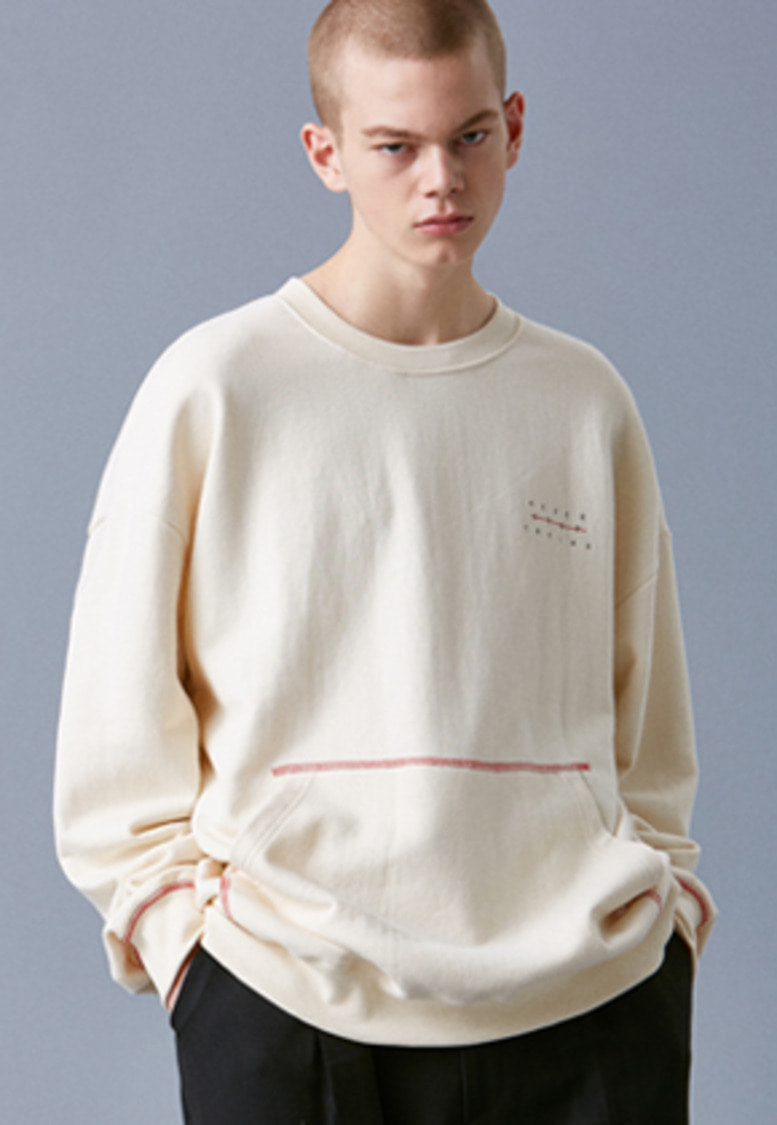 Voiebit브아빗 V342 POCKET STITCH SWEATSHIRT  IVORY