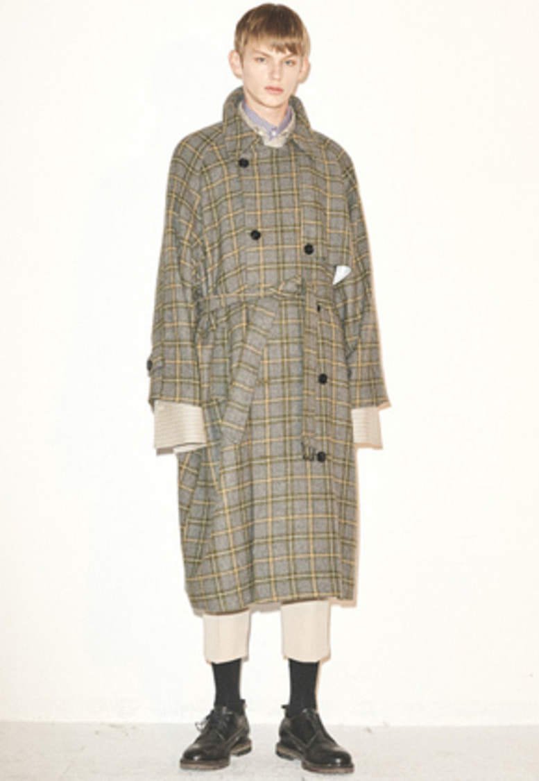 Haleine알렌느 GREENCHECK wool oversized trenchcoat