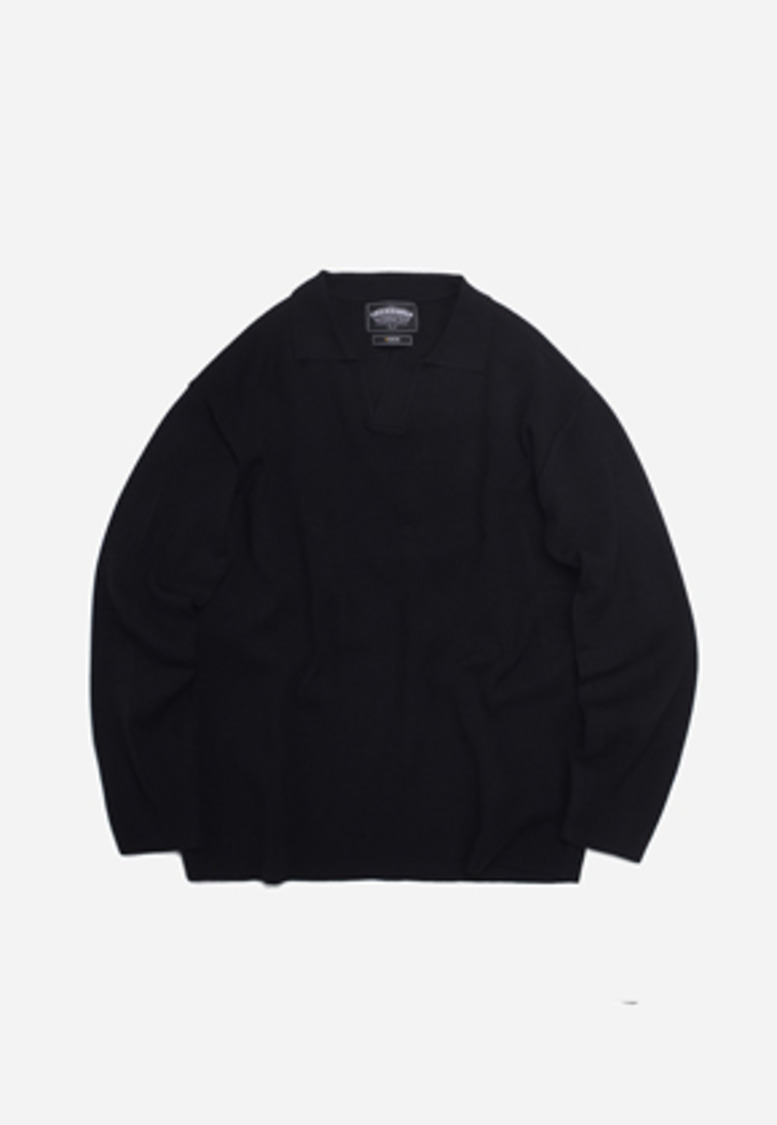 FRIZMWORKS프리즘웍스 Open collar knit _ black