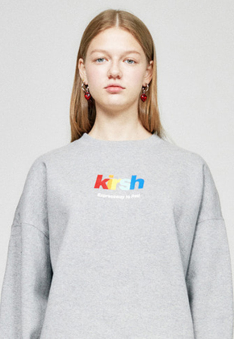 KIRSH키르시 RAINBOW LOGO SWEATSHIRT HA [GRAY]