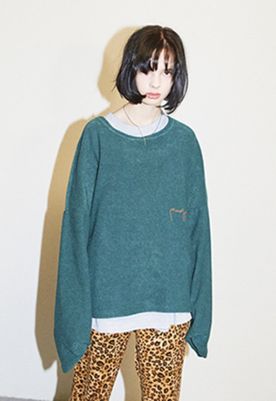 Enzoblues엔조블루스 CROPPED TERRY SWEATER (GREEN)