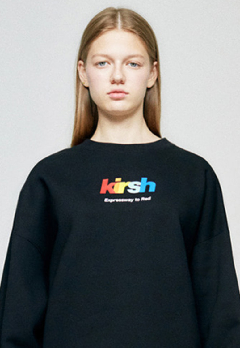 KIRSH키르시 RAINBOW LOGO SWEATSHIRT HA [BLACK]