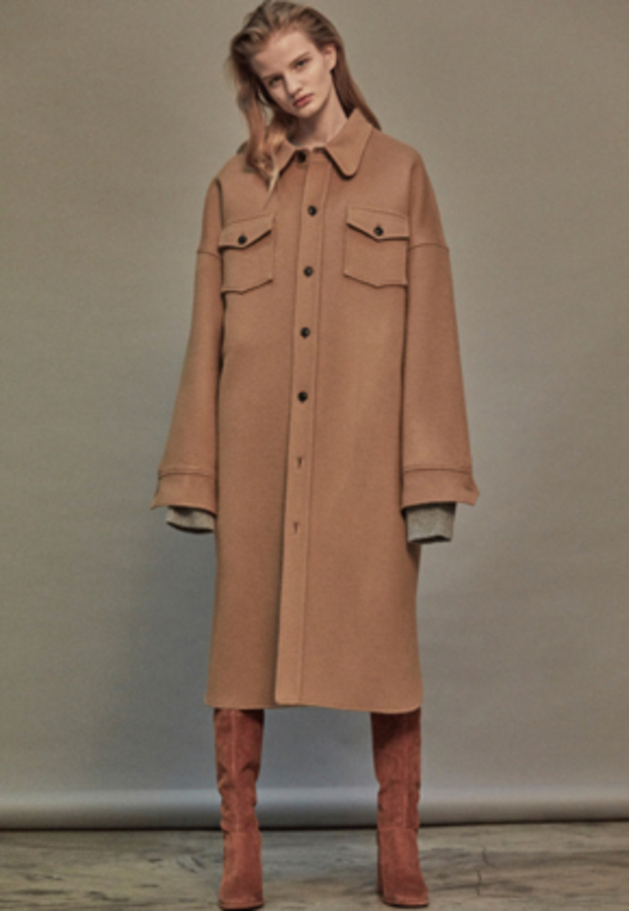 NOHANT노앙 OVERSIZED WOOL SHIRT-COAT BEIGE