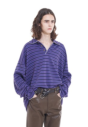 Vuiel뷔엘 STRIPED_RUGBY_SHIRT - PURPLE