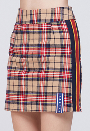 Romantic Crown로맨틱크라운 Band line Check Skirt_Beige