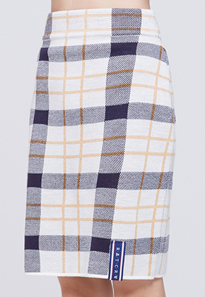 Romantic Crown로맨틱크라운 Tatan Check Knit Skirt_Oatmeal