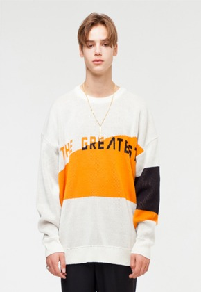 The Greatest더 그레이티스트 GT18FW04 OVERSIZE LOGO KNIT IVORY