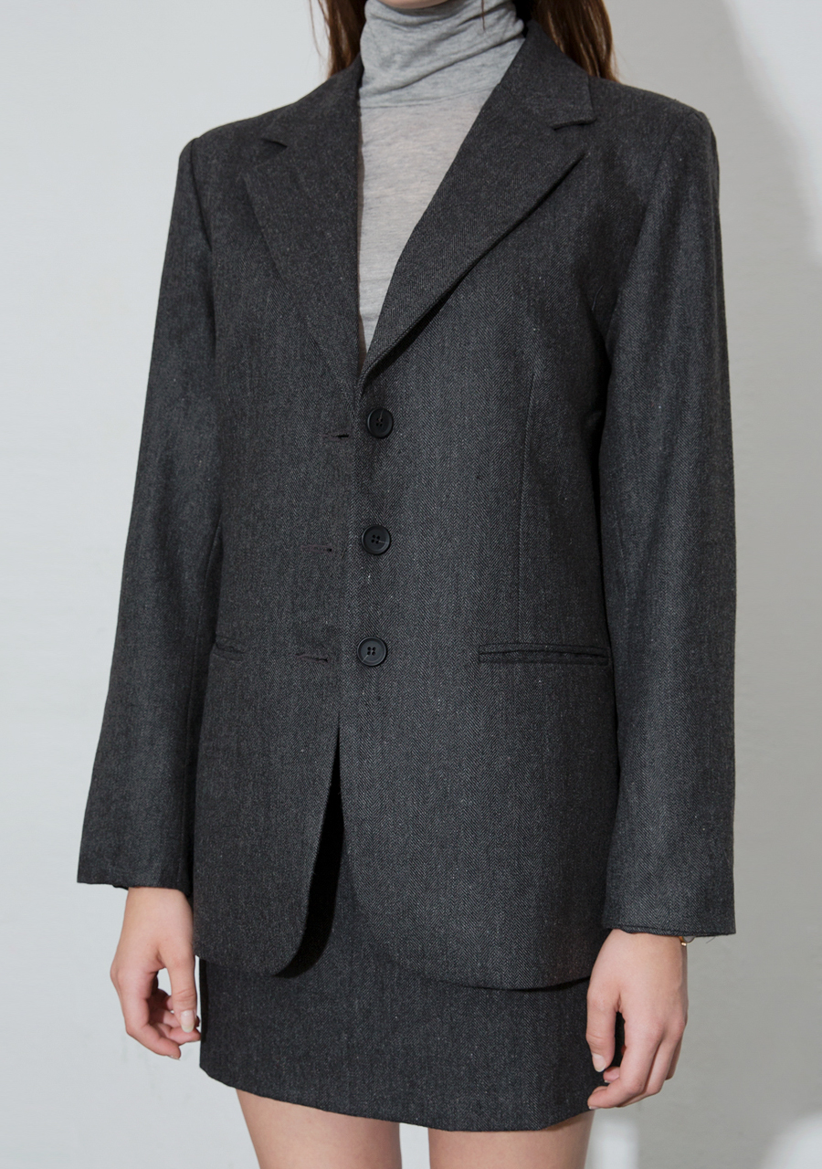More or Less모어올레스 WOOL OVER-FIT HERRIGBONE JACKET - DARK GREY