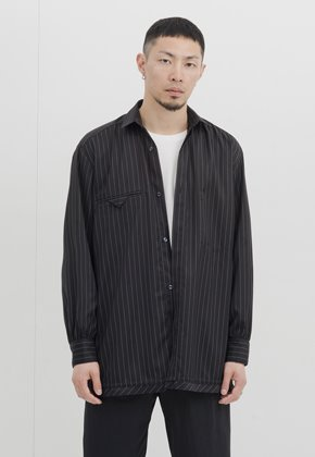 Gakuro가쿠로 Shirring Shirt (Black Stripe)