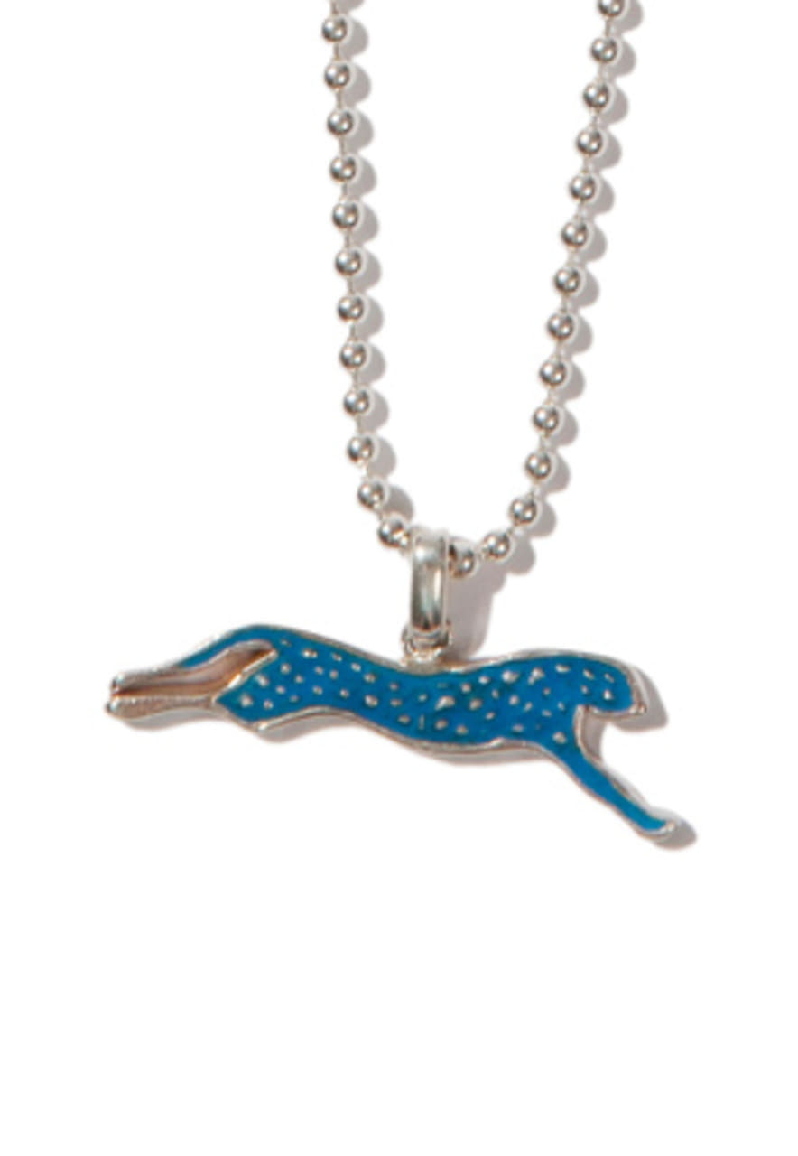 Kruchi크루치 Cheetah necklace (silver,blue)