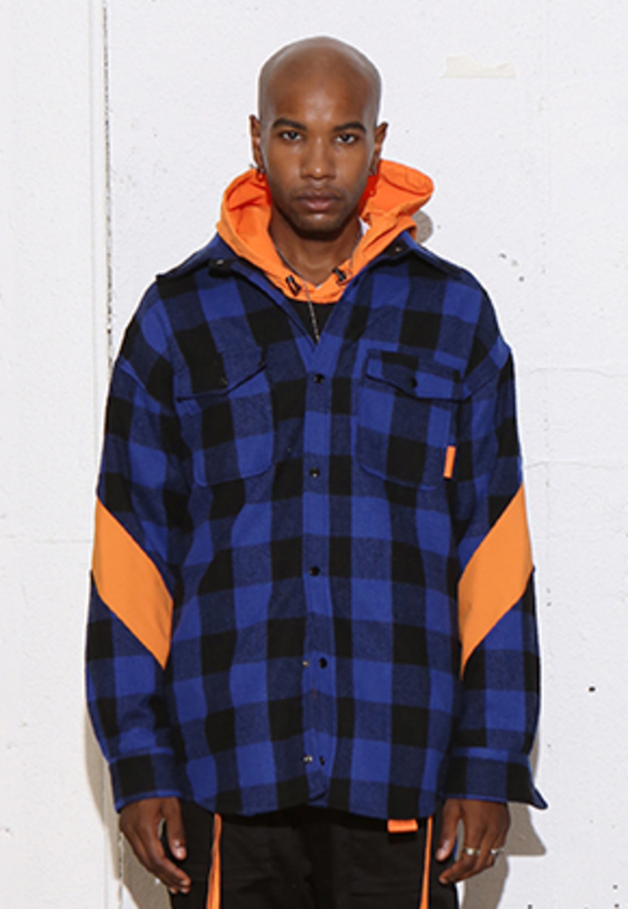 RDVZ DIAGONAL SLEEVE SHIRTS JACKET BLUE