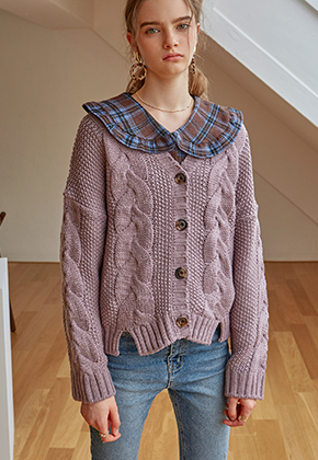 Yan13얀써틴 TWIST KNIT CARDIGAN_VIOLET