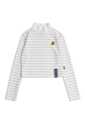 Romantic Crown로맨틱크라운 Stripe Knit Turtleneck_White