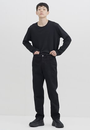 Gakuro가쿠로 Tapered Denim Pants (Black One Washed)
