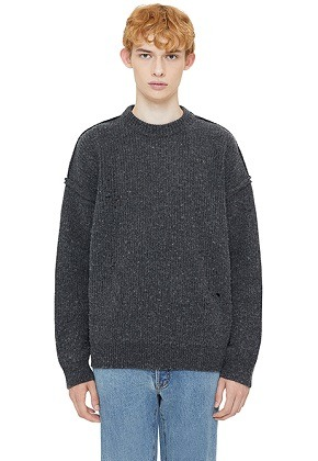 Lab101랩원오원 CHARCOAL NOMAD REVERSED CREW SWEATER