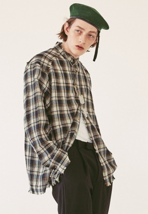 Ooparts오파츠 OPT18FWSH02NV Wool check shirt