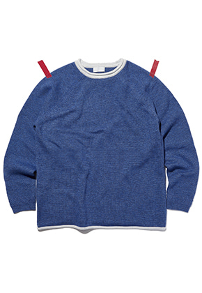 KIT키트 Point lip merino wool knit (blue)