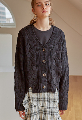 Yan13얀써틴 TWIST KNIT CARDIGAN_BLACK