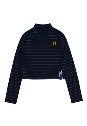 Romantic Crown로맨틱크라운 Stripe Knit Turtleneck_Navy