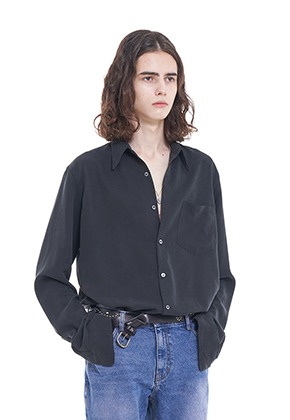 Vuiel뷔엘 LONG_SILKET_SHIRT - BLACK