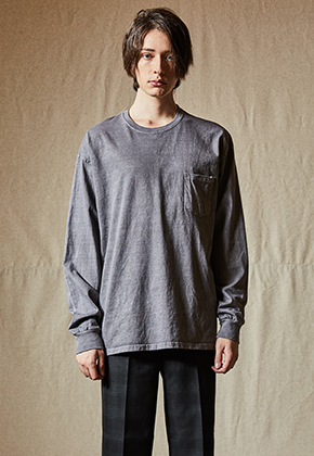 INDIGO CHILDREN인디고칠드런 PIGMENT DYED POCKET LONG SLEEVE [CHARCOAL]