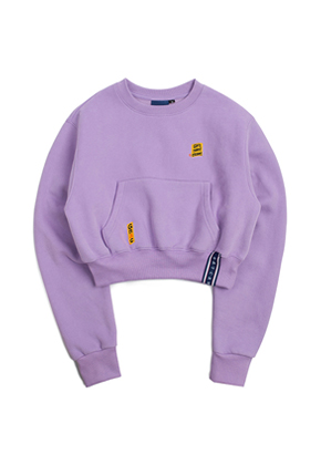 Romantic Crown로맨틱크라운 Pocket Crop Sweat Shirt_Purple