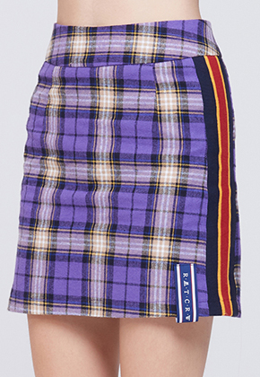 Romantic Crown로맨틱크라운 Band line Check Skirt_Purple
