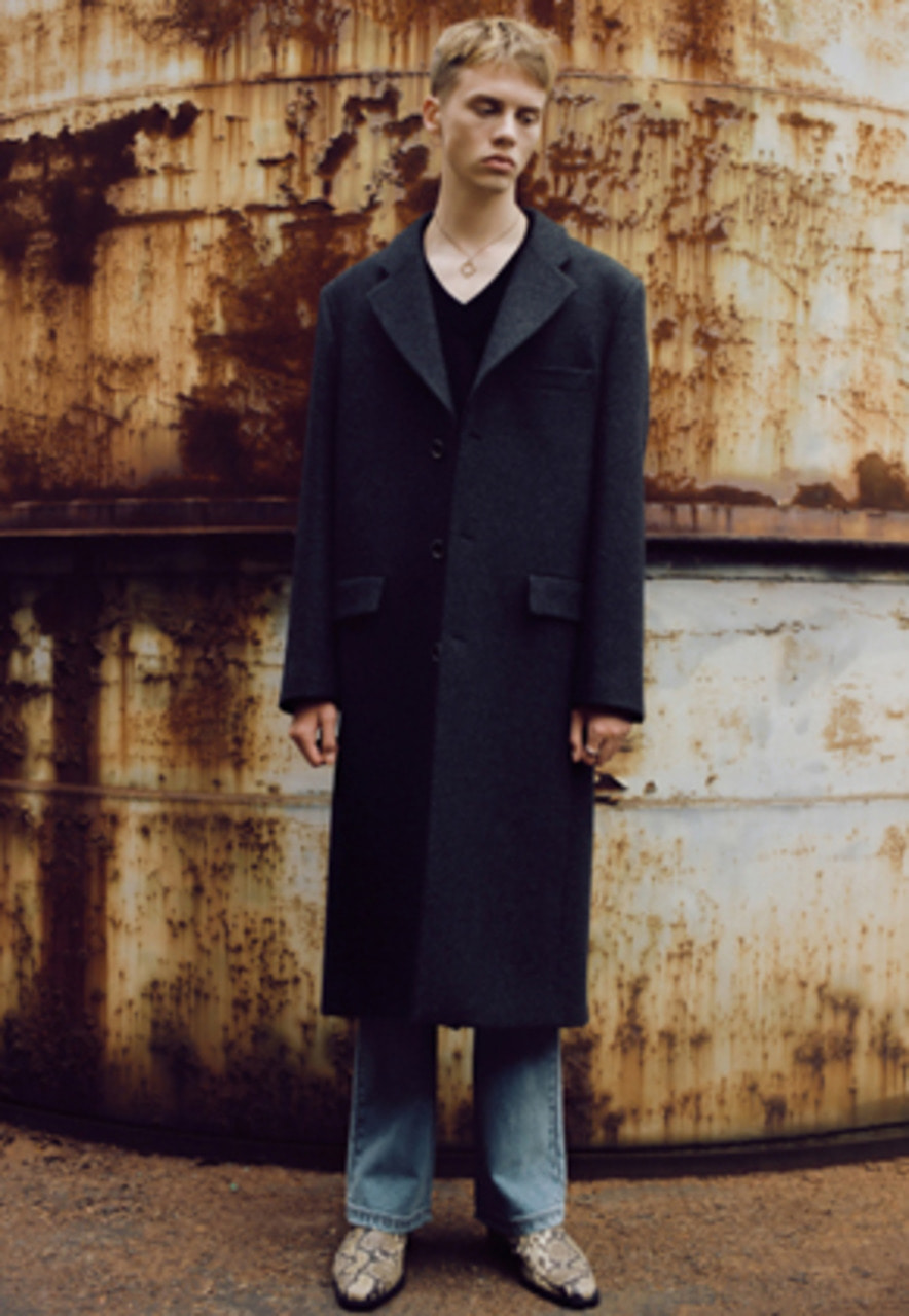 Anderssonbell앤더슨벨 CHRISTOPHER SINGLE LONG COAT awa165m(BLACK HERRINGBONE)