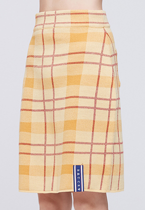 Romantic Crown로맨틱크라운 Tatan Check Knit Skirt_Butter
