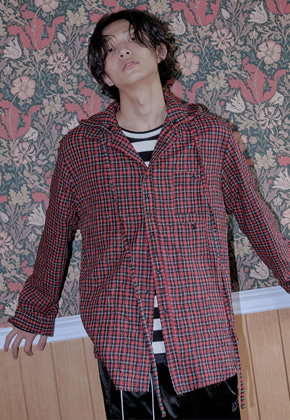 XYZ [후드탈부착]UNISEX HOODED CHECK SHIRTS - RED