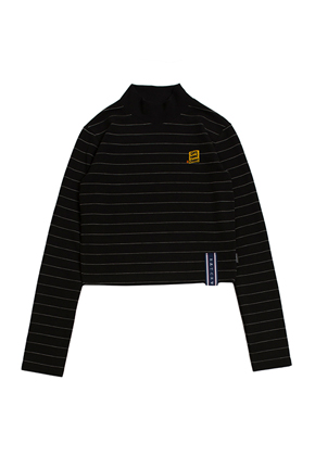 Romantic Crown로맨틱크라운 Stripe Knit Turtleneck_Black