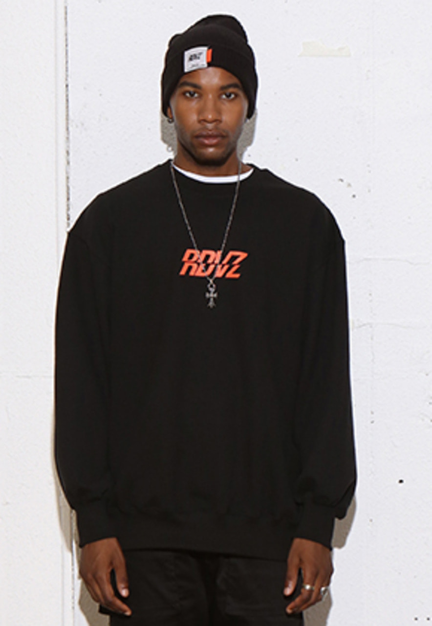 RDVZ RDVZ SWEAT TOP BLACK