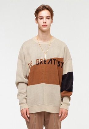 The Greatest더 그레이티스트 GT18FW04 OVERSIZE LOGO KNIT BROWN